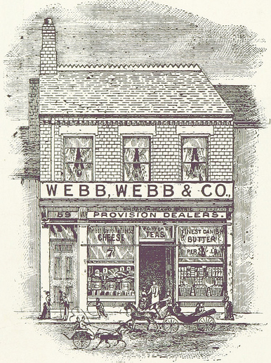 Image of Georgian era shop with a sign saying Webb, Webb & Co